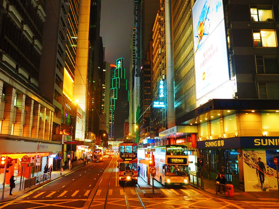 Hong Kong by night from the tram