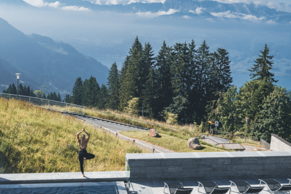 Mornings in Switzerland, yoga among the hills and the amazing Rigi Kaltbad Hotel overlooking the Alps